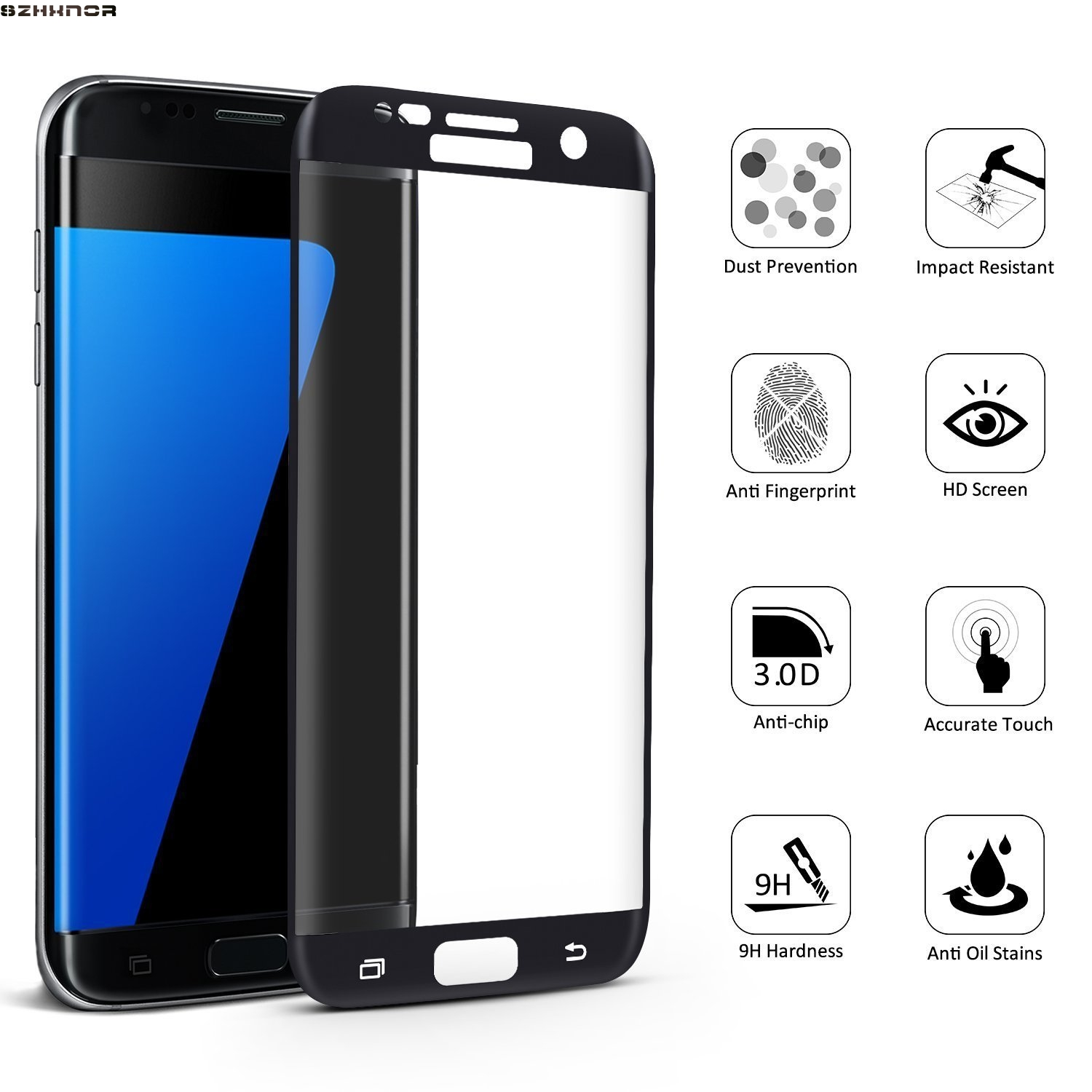 3pcs Curved Screen for samsung S7 Edge Tempered Galss Print Tempered Glass for samsung S7 Tempered Glass 3D Screen Protector in Phone Screen Protectors from