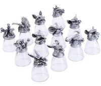 Chinese Zodiac 3D Engraved Metal Base Wine Glasses Cup 30 ml Set of 12 Packs Spirits Brandy Drinkware Lead free Crystal Glass