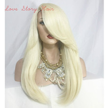 Free Shipping Hot Heat Resistant Straight Long Blonde Synthetic Lace Front Wig for White Women 130% Density