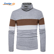 Covrlge Men Thin Sweater Spring Autumn Male Turtleneck Pullovers Brand Clothing Fashion Striped Patchwork Sweater Shirt MZL035