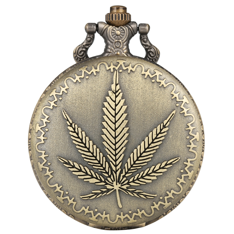 Retro Bronze Pocket Watch 3D Maple Leaf Arabic Numbers Quartz Pocket Watch Necklace Pendant Watch Chain Best Gifts For Men Women