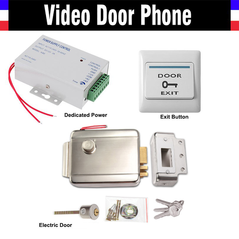 Electric Electronic Door Lock + Power Supply box + Door Exit Button Switch for Video doorbell Door Access Control System