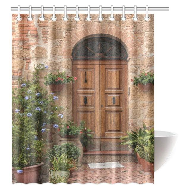 Aplysia Tuscan Decor Shower Curtain Medieval Facade Italian Rustic Wooden Door Brick Wall In Village Fabric Curtains
