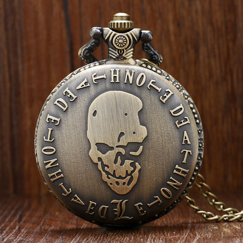 Antique Vintage Bronze Death Note Quartz Pocket Watch Evil Skull Necklace Pendant with Chain Reloj De Bolsillo Xmas Gift P938 antique smooth black mini toy pocket watch men women retro pendant necklace quartz watch mini gift chain reloj de bolsillo