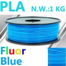 Fluorensecence Azul 3d filamento impressora impresora 3d filamento pla 1.75mm 1 kg EE.UU. natural 3d filamento plástico 1.75 filamento pla