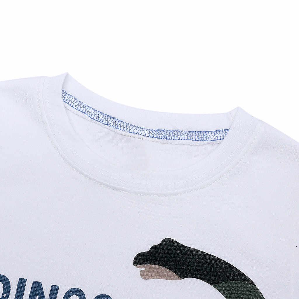 Детская одежда для малышей мальчиков Девочка Рост рукава письмо с принтом динозавра из мультфильма Топ Футболка наряды дети ClothingRopa De Bebe