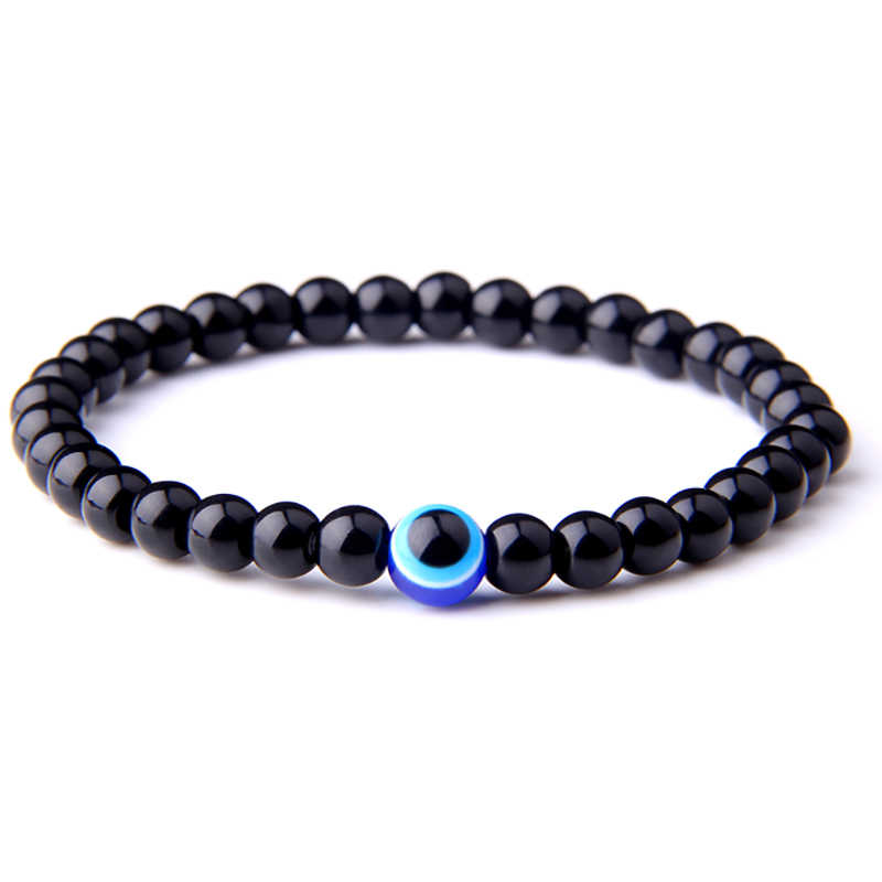 Hot Selling Black Stretch Turkish Evil Eyes Beaded Men Bracelets Natural Stone 6mm Beads Evil Eye Yoga Bracelet for Women Men