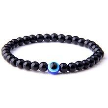 Hot Selling Black Stretch Turkish Evil Eyes Beaded Men Bracelets Natural Stone 6mm Beads Eye Yoga Bracelet for Women