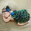 Новый Мягкий Новый новорожденный Ребенок Костюм Фото Опора Павлин Косплей платье Младенческой Девочка и Мальчик Вязать Крючком DEG Бесплатная доставка
