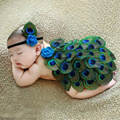 New Soft New newborn Baby Costume Photography Prop Peacock Cosplay dress Infant Girl and Boy Knit Crochet DEG Free shipping