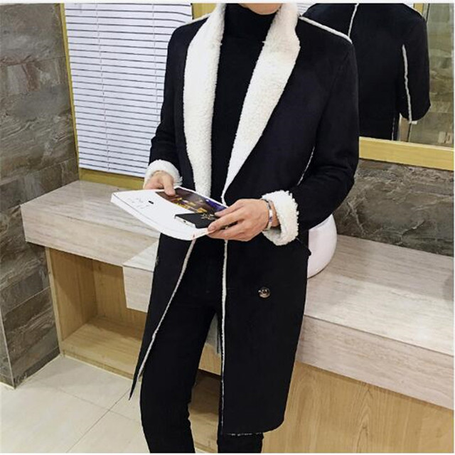 310423d6b176 2017 Long Overcoat Men Suede Double Breasted Trench Coat Men Fur Collar  Slim Fit Brown Green Black 4xl Male Trench Coat Winter