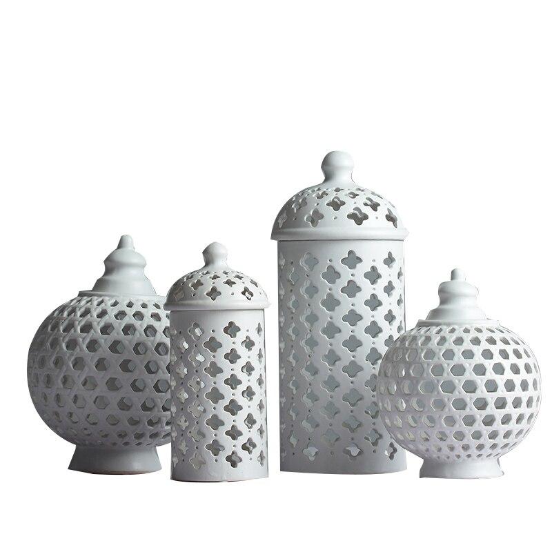 Fait à la main creux cercle Tube stockage réservoir pot blanc en céramique fleur Vase bougeoir décoratif multi-fonction accessoires de chambre