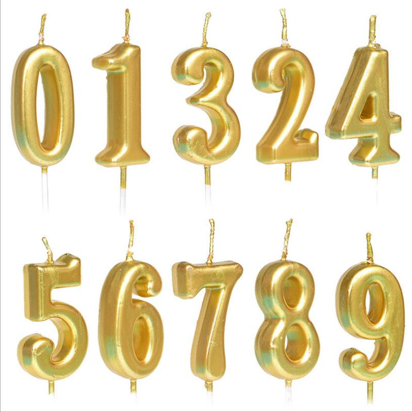 Gold Birthday Number Candle 0 1 2 3 4 5 6 7 8 9 Cake Cupcake Topper Party Decoration Suppply