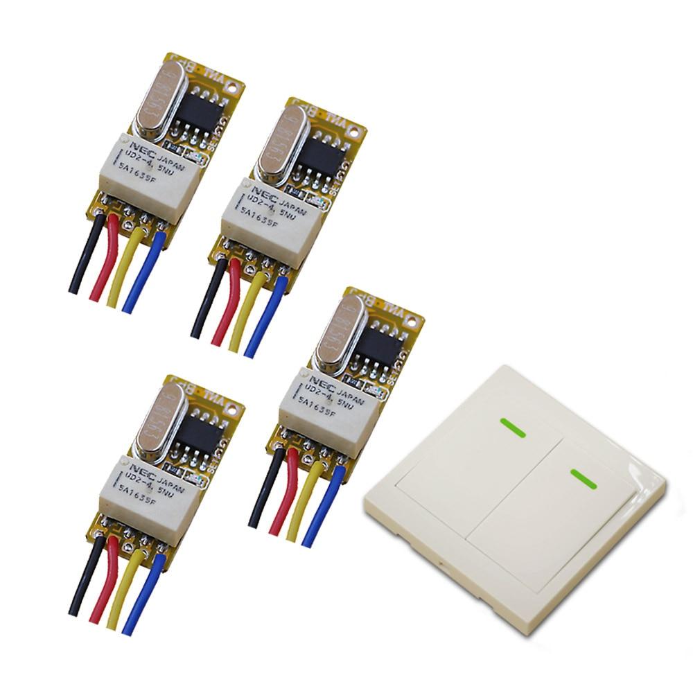 цена 315/433MHZ DC3.5V 5V 6V12V Remote Control Switch 4*Receiver Wall Transmitter Wireless Power Switch Radio Controlled Switch Relay