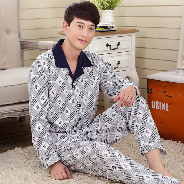 De alta Calidad 2 Unidades 100% Pijama de Algodón Nuevo 2016 Otoño conjuntos de Pijama A Cuadros Hombres Tejida de Rayón ropa de Dormir Pijamas Pijamas de Los Hombres 098