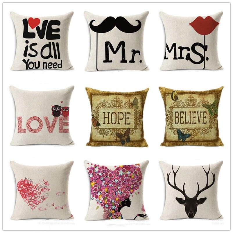 ᓂAmor romántico Fundas de colchón algodón Lino decorativo Almohadas ...