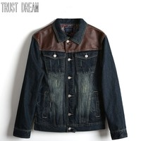 TRUST DREAM Winter Tide Male Male Han Edition Cultivate One S Morality Cowboy Coat Jacket Cowboy