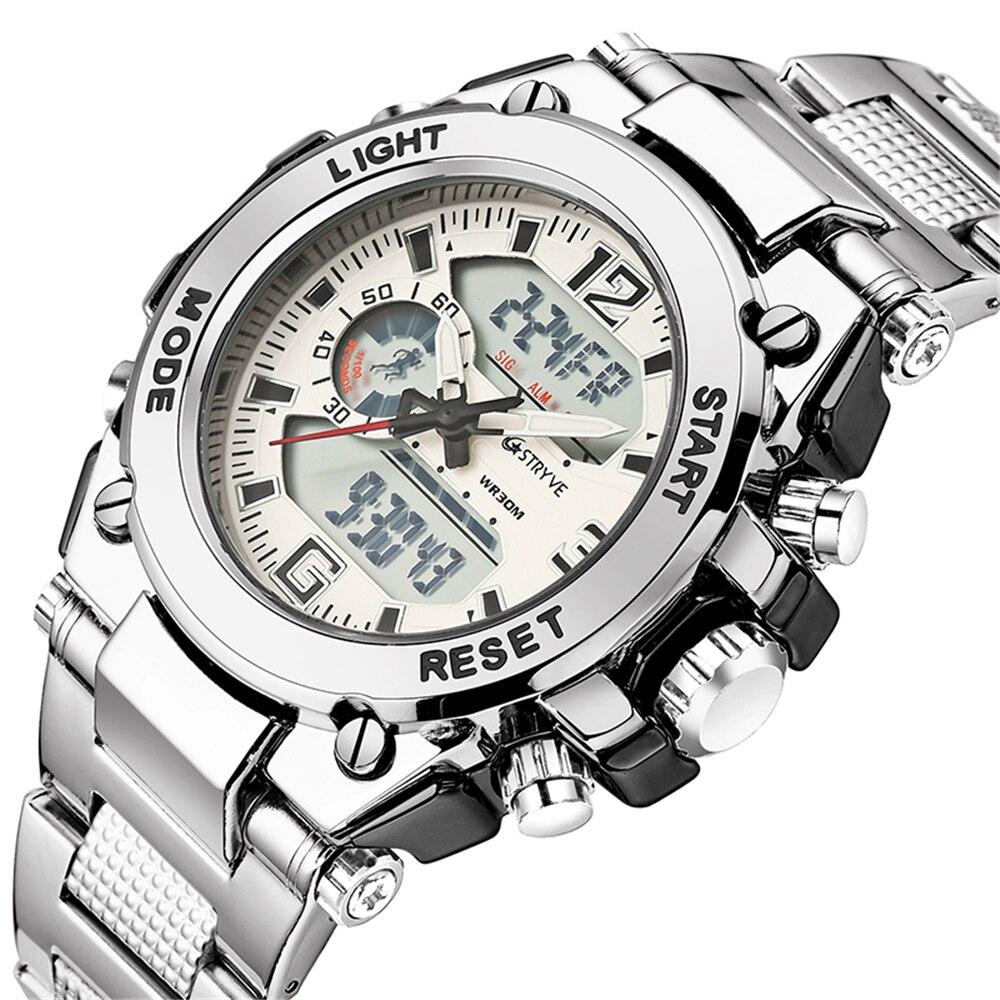 Stryve 8014 hommes montres de sport militaire 12/24 heure horloge électronique Quartz numérique en acier inoxydable de luxe montre horloges mannen