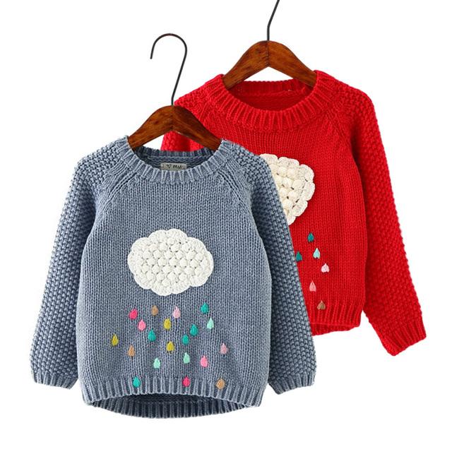 2016 Nuevos Niños de La Muchacha Otoño Invierno Suéter Manga Larga de Punto de Dibujos Animados Nubes O-cuello Suéteres outwear para las niñas pequeñas