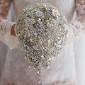 Серебра ручной работы брошь букет высокого класса пользовательских свадебные свадебные букеты кристалл алмаза слеза Невесты Букет свадебный декор