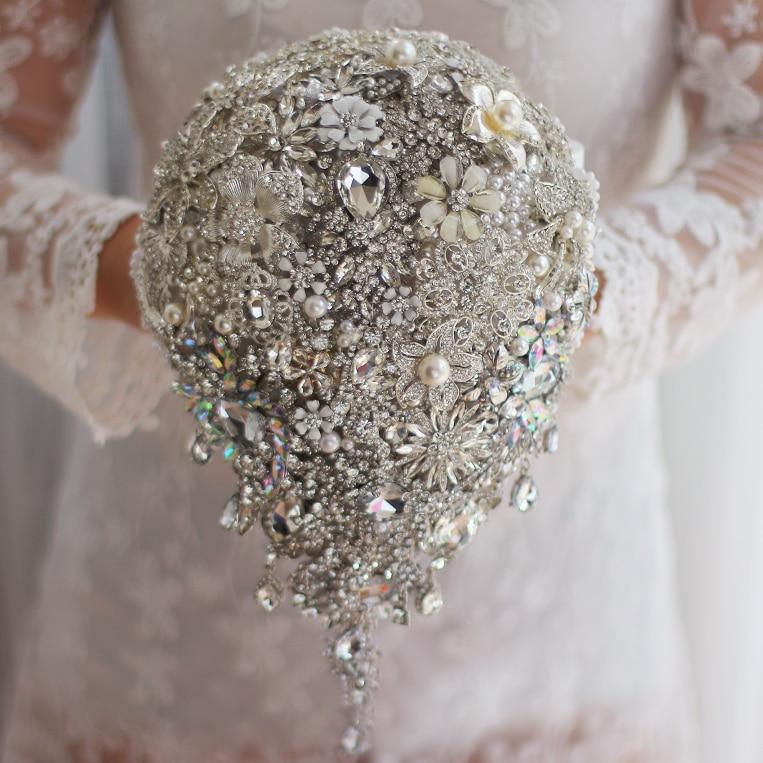 Handmade Silver Brooch Bouquet High End Custom Wedding Bridal Bouquets Crystal Diamond Teardrop