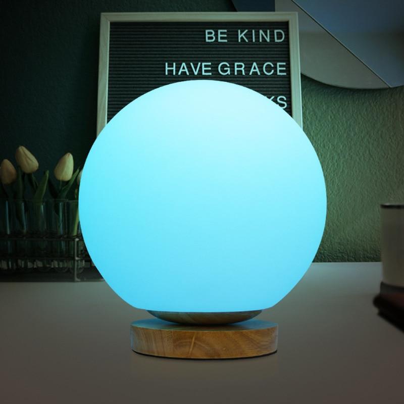 Lampe de nuit de Table de chevet avec Base en bois massif D15/20 CM blanc/rvb boule lumières LED pour la décoration de chambre à coucher de maison/hôtel