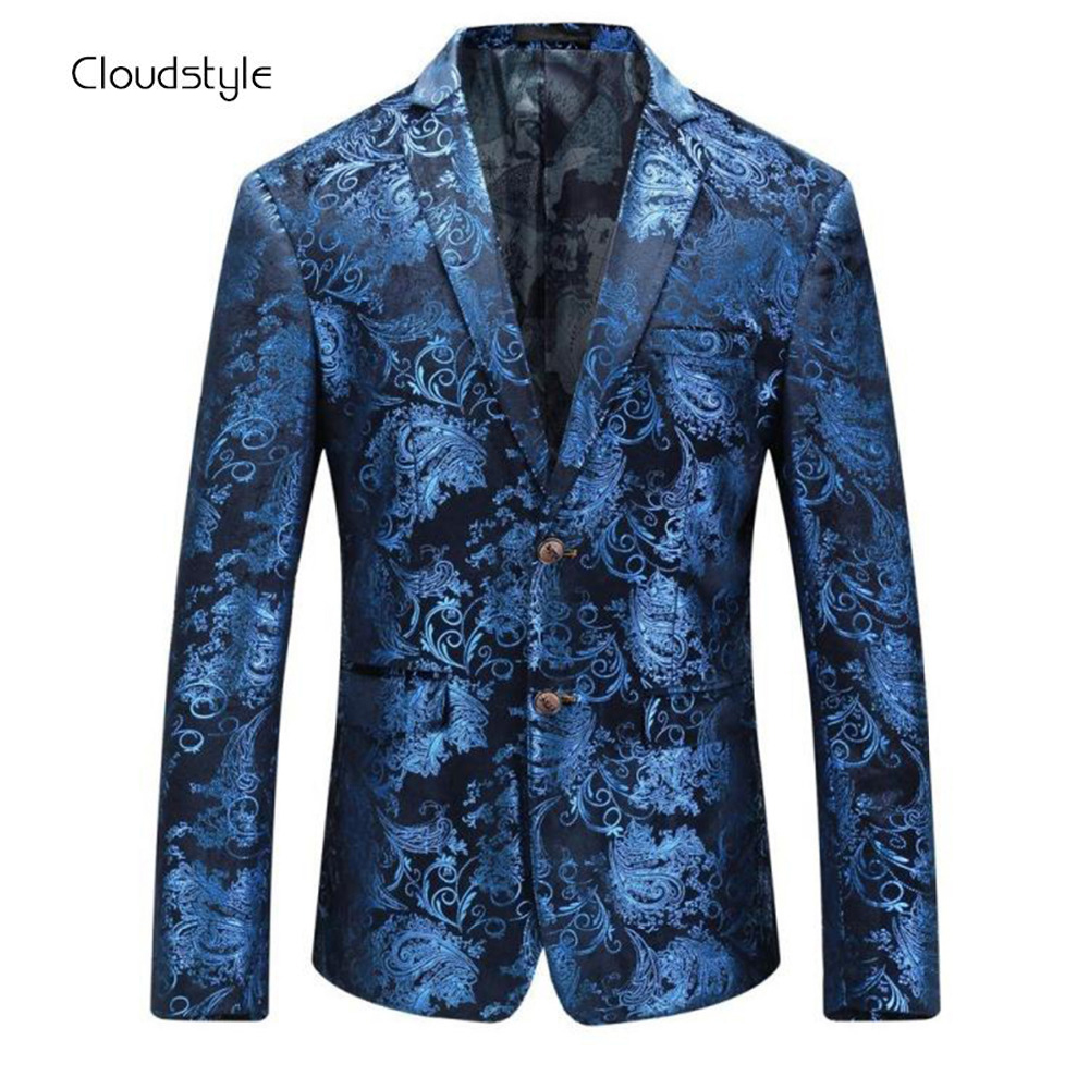 Cloudstyle 2017 New Brand Men Blazer Fashion 3D Floral Print Suit Blazer Single Breasted Party Clothing Slim Fit Blazer for Male