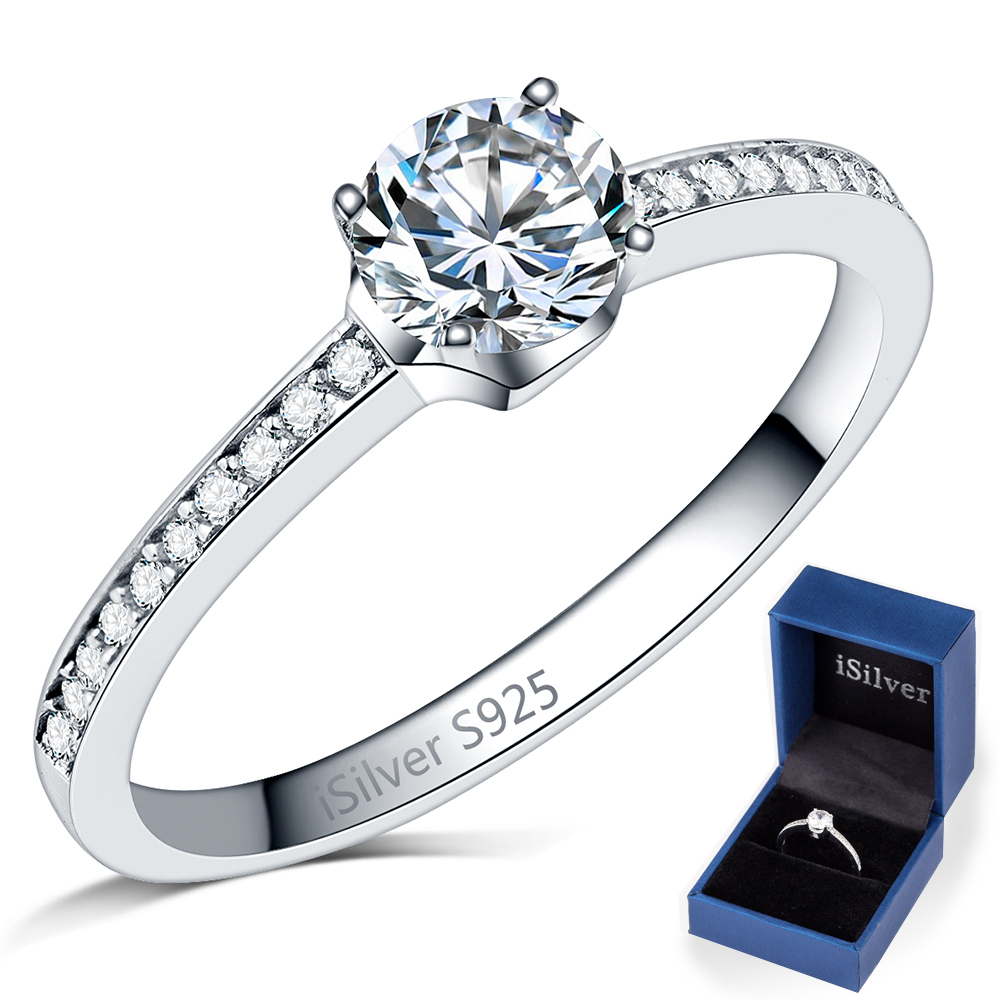 Solid 925 Sterling Silver Wedding Engagement Solitaire Ring Anniversary Propose Cluster Eternity Mother Daughter Gifts With Box