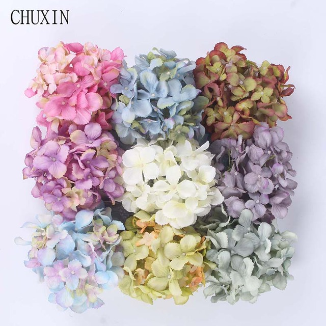 Aliexpress buy 10pcslot artificial flowers heads european 10pcslot artificial flowers heads european hydrangea silk flowers fake flores for wedding decoration background mightylinksfo