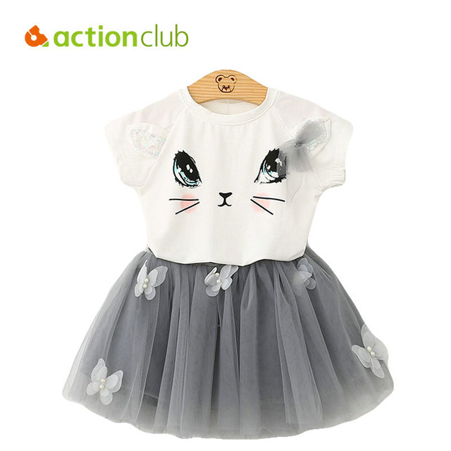 Actionclub 2016 Girls Clothes Set T-shirt and Skirt Girls Summer Clothes Set T Shirt Tutu Skirt Cute Cat Pattern Kids Clothing