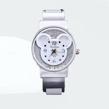 Fashion Bangle Watches Women Brand XIRHUA Mickey Mouse Stainless Steel Luxury Round Dial Cartoon Kids Children Watch saat reloj