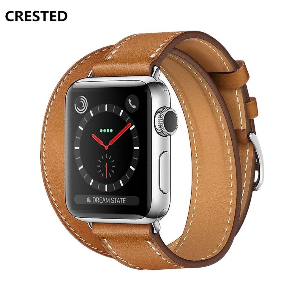 CRESTED Leder Doppel tour strap Für Apple Uhr 4 band 44mm/40mm iwatch serie 3 2 1 42mm/38mm handgelenk Armband wacthband gürtel
