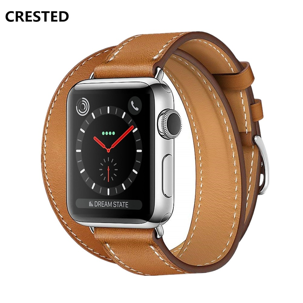 CRESTED strap For Apple Watch band 42mm/38mm iwatch 3 2 1 Double tour Genuine Leather wrist bands Bracelet smart wacthband belt цена