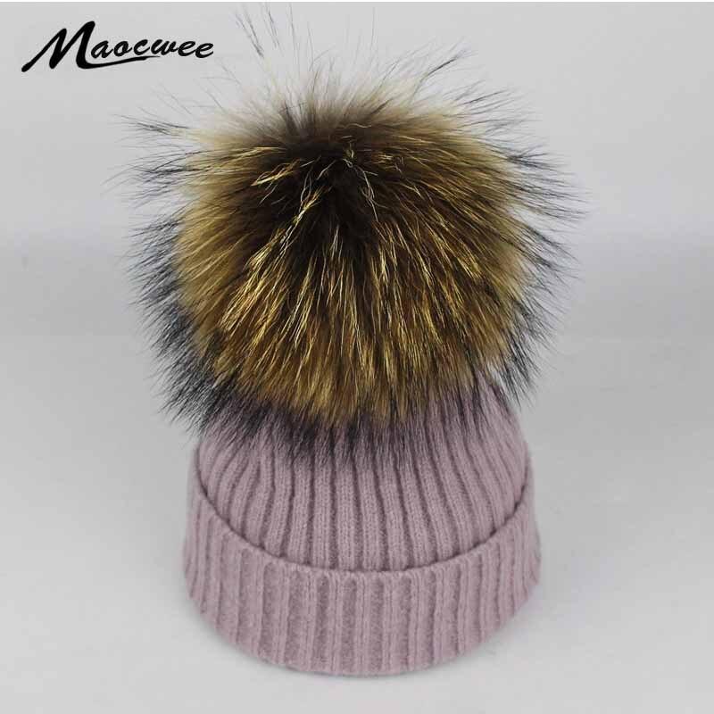 12dc32cbf96f Women Winter Hat Raccoon Fur Big Pom Poms Hat Beanies Crochet Knitting Fur  Warm Cap Women Winter Fashion Knit Cap Bone Gorras-in Skullies   Beanies  from ...