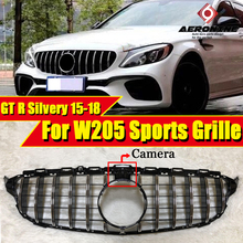 W205 Sports GTS Style ABS Silver For C-Class C180 C200 C230 C250 C280 C300 C350 grille grill with Camera&Without sign 15-18