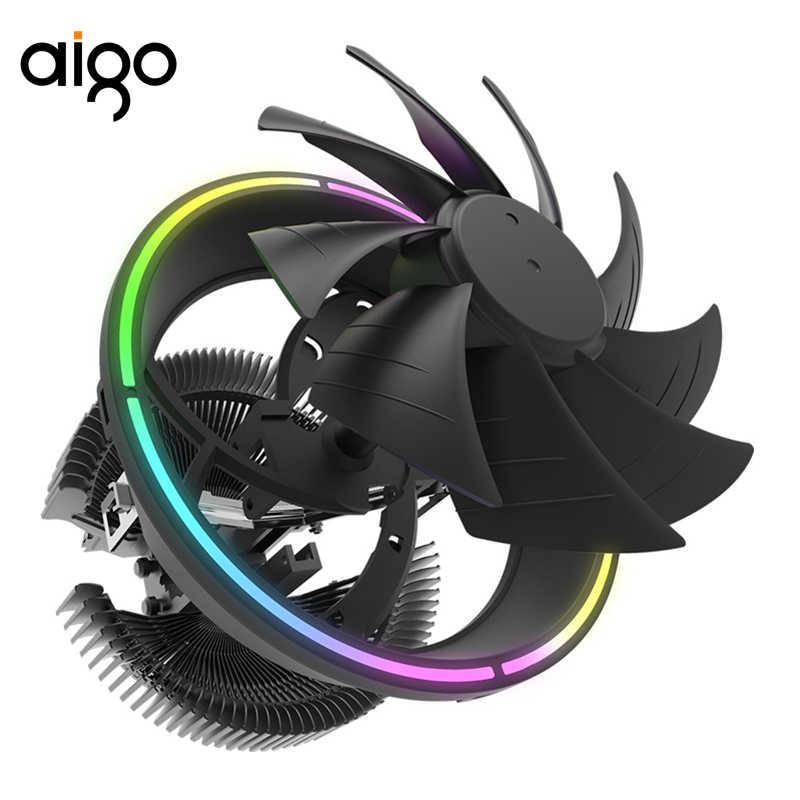 Aigo RGB Cpu Cooler VUOTO Top Flusso del Dissipatore di Calore Per Processori Intel e AMD Ventola Di Raffreddamento Fondo In Rame Gioco Ventola da 120mm radiatore