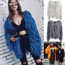 Для женщин Bothwinner теплые Вязание лохматый куртка свитер с длинным рукавом волосатая искусственного меха пальто 2018 осень-зима мягкий кардиган пальто