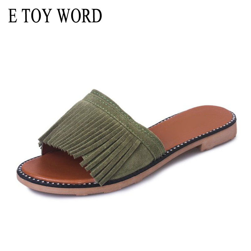 E TOY WORD Tassel Slippers Vintage Flip Flops Summer Gladiator Slices Platform Shoes Woman Slip On Casual Women Shoes XWD2737 phyanic 2017 gladiator sandals gold silver shoes woman summer platform wedges glitters creepers casual women shoes phy3323