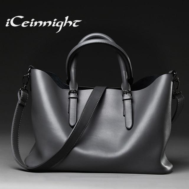 ICeinnight Роскошный Европейский стиль женщины сумку большой повседневная сумка люксовый бренд крупного торгового плеча качество кожи bolsa feminina
