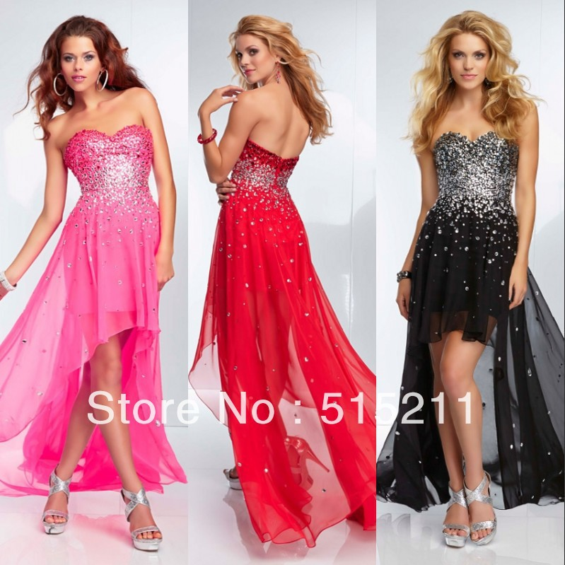 2014 Sparkle Beaded Sweetheart Pink Red Black Chiffon High Low Prom ...