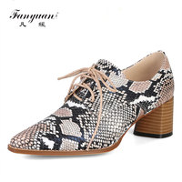 Fanyuan Big size 34 44 new lce up women pumps spring summer high heels shoes snake printing pu leather ladies office dress shoe
