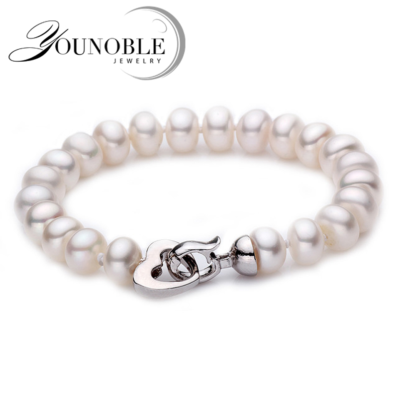 все цены на White Natural Freshwater Pearl bracelet for women,classic real pearl bracelet 9-10mm mother birthday gift multi drop shipping