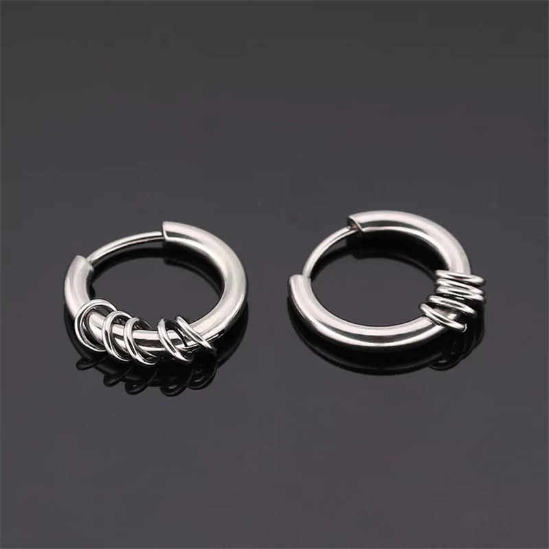 916c89675 ... 1piece New Arrival Punk Gold/Silver/Black Round Circle Stainless Stud  Earrings for Men ...