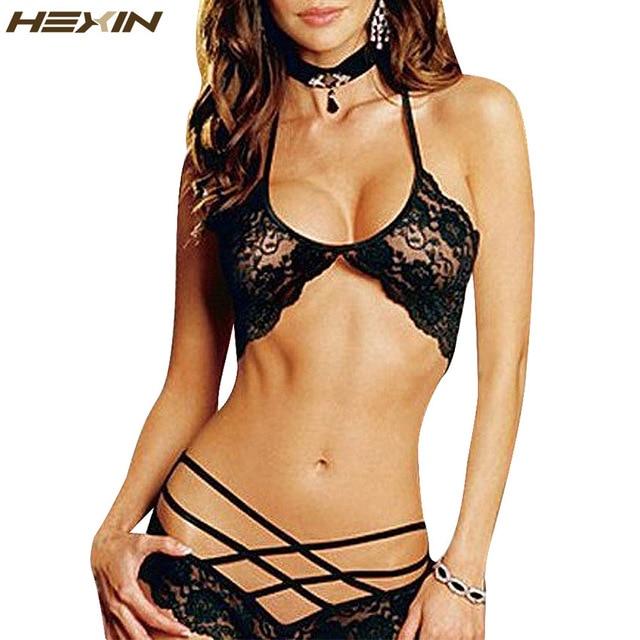 82f4caab1a9f HEXIN Nightwear Black Strappy Bralette Lace Shortie Lingerie Sexy Lace Bra  Set Sexy Strappy Lace Halter Bra Brazilian Panty Set
