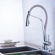 Хромированная отделка вытащить ванная кухня кран смесителя на бортике с круглой крышкой