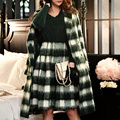 Original 2016 Brand Pullover Autumn Winter Plus Size V Neck Loose Elegant Fashion Solid Dark Green Warm Sweater Women Wholesale