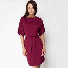 5f1596a9d9c59 Kadın Moda Ofis Lady Gevşek düz Elbise Klasik Kısa Kollu O-Boyun Sashes Elbiseler  2019 Bahar Zarif Kadın Parti Elbise