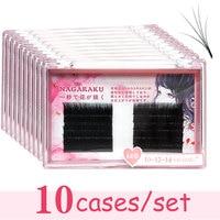 10 case/ set NAGARAKU Eyelash Extensions Bloom to Bunch Easy to fan lash J B C 0.03 mm Mixed Length Individual Faux Mink Eyelash
