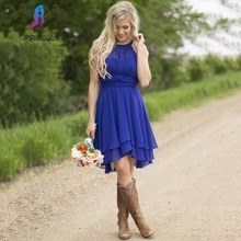 Simple Country Style Royal Blue Bridesmaid Dresses Short Chiffon Knee Length Women Dress For Weddings