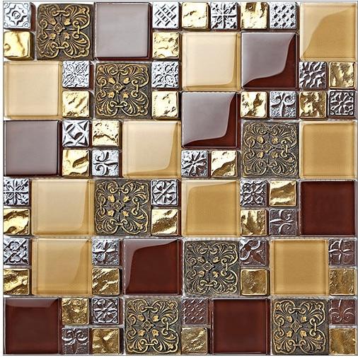 Kitchen Wall Decor Tiles: Vintage Resin Puzzle Parquet Tiles Bathroom Crystal Glass